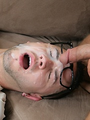 Tattooed guy cums on cute nerdboy's glasses!