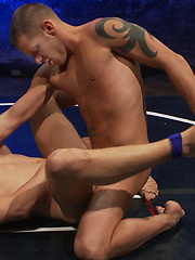 Two big-dicked hot studs with smooth bubble butts wrestle for victory... winner fucks loser. You'll won't want to miss the wild and crazy wa