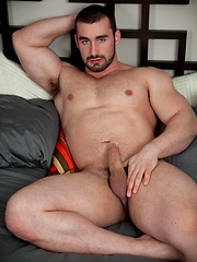Jaxton Wheeler is one hung bodybuilder, with his sexy buzzcut, neatly trimmed beard and jock muscle body.