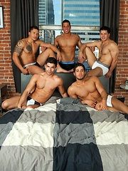 In part two of Five Guys One Bed, Diego Sans, Raphael Cedano, Dante Ferraro, Jorge Fusco and Nicco Sky
