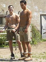 Hot muscle studs fucking outdoors