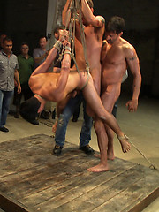 Dominic Pacifico gets completely destroyed and gang banged in warehouse full of men.