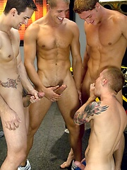 Four hot muscled studs fucking