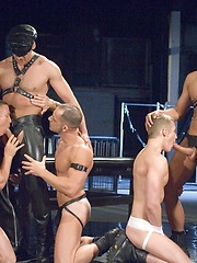 Anthony Martinez, Jack Ryan, Jason Kingsley, Kyle Lewis, Mason Wyler and Ross Stuart in muscle and leather party