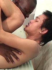 Fresh faced twink has his man pussy stretched during a raw barebacking from an African lad with a huge throbbing cock.