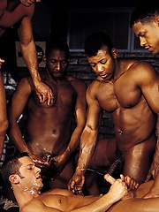 Mitchell Stack, Jack Simmons, Aron Ridge, Tristan Paris and Jason Branch - muscled interracial