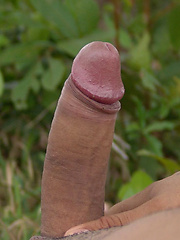 Latino guy Sebastian strokes his cock outdoors