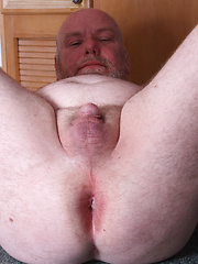 Bald daddy Sterling Steel shows his small cock