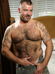 Steve King shows his hairy body and strokes dick