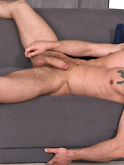 Dalton strokes his uncut dick