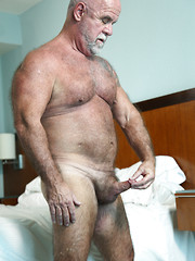 Hairy daddy Jake Shores strokes dick