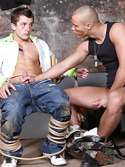 The soldier starts to milk the young reporter. Then he commands him to jerk. He kisses him and treats him like a girl.