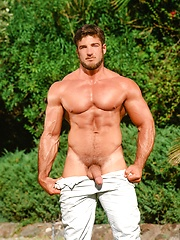 Brunette athlete Rick Wolfmier shows his cock
