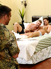Horny studs in a group sex scene