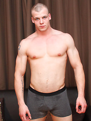Straight muscled hunk Jake Smith strips off and strokes his dick for the lads