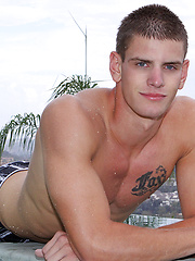 Handsome jock Nate jacking off