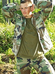 Straight military man outdoors