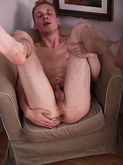 Smooth twink Kurt stroking his smaller cock.