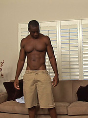 Ebony stud Derek jerking off cock