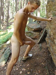 Blond czech twink posing naked outdoors