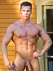 Hot muscle man shows his cock outdoors