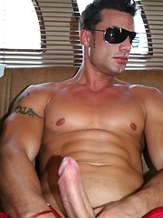 Hot latin stud jerking off dick