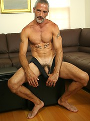 Silver daddy Vincent shows his muscled body