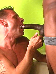 Two black hunks cum on old white face