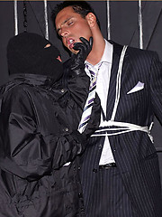 Marcello lives out his kipnap fantasy and gets a wet blowjob from masked man