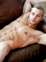 Buff Blonde Kyle Holmes Fucks The Couch in Cum Solo